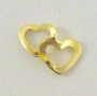 Nail Charm Gold 2 Hearts Top
