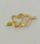 Nail Charm Gold 2 Hearts Arrow