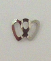 Nail Charm Silver 2 Hearts Side