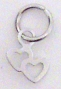 Nail Ring Silver Double Hearts