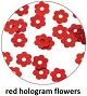 Art Club Hologram Flowers Red